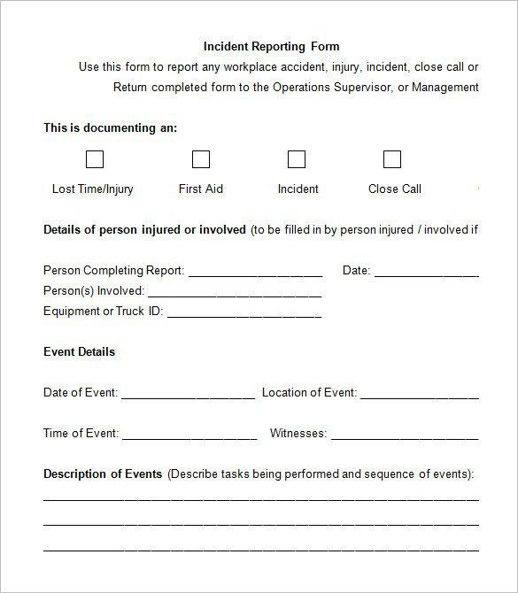 Incident Report Template Word Document [Template.billybullock.us ]