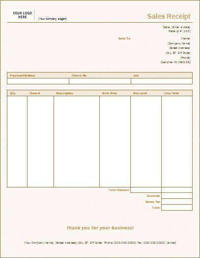 7 Free Sales Receipt Templates - Word Excel Formats