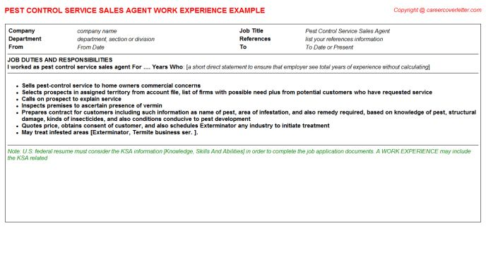 Pest Control Service Sales Agent Job Title Docs