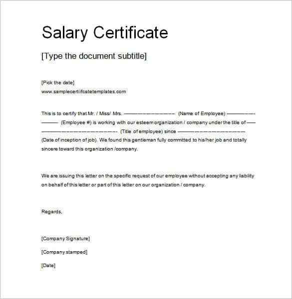 Salary Certificate Template - 28+ Free Word, Excel, PDF, PSD ...