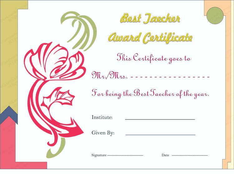Best Teacher Certificate | Certificate Templates
