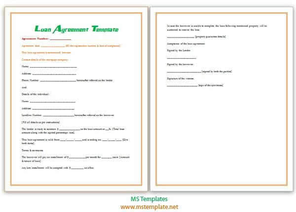 10 Best Images of MS Word Loan Agreement Template - Loan Contract ...
