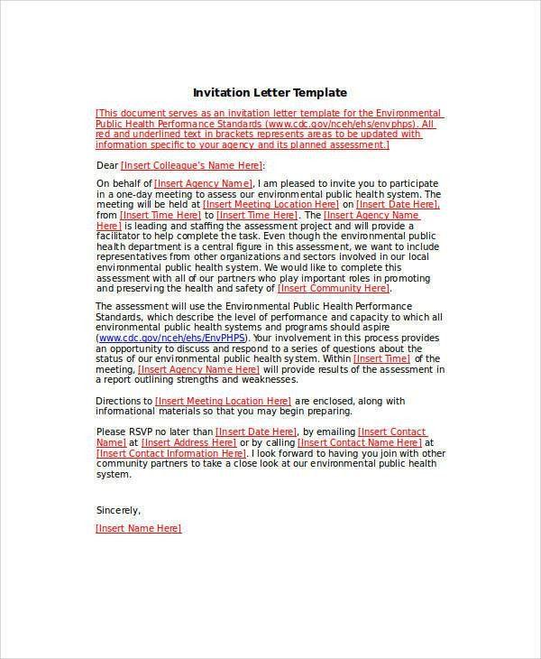 Formal business invitation template sample business invitation 34 sample invitation letter stopboris Choice Image