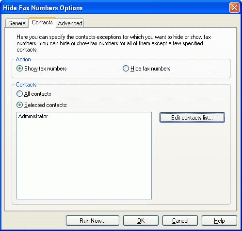 Hide Fax Numbers component