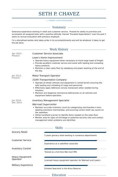 Opérateur Exemple de CV - Base de données des CV de VisualCV