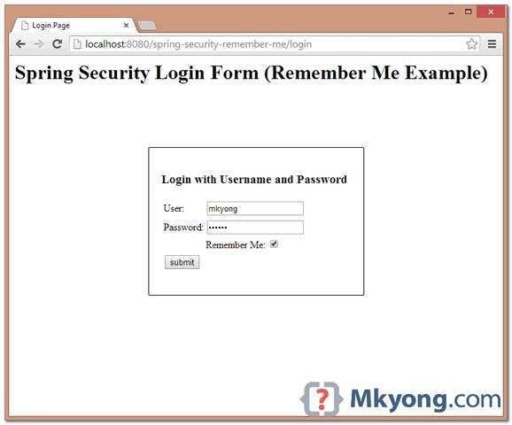 Spring Security Remember Me Example