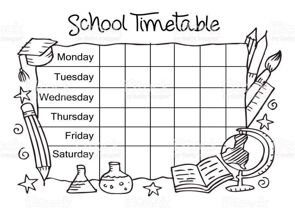 Template School Timetable For Students stock vector art 800441856 ...