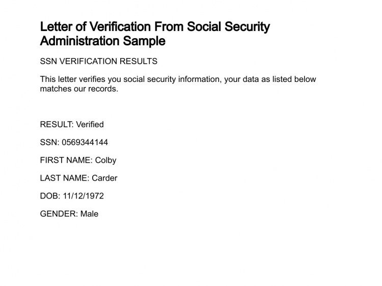Letter of Verification