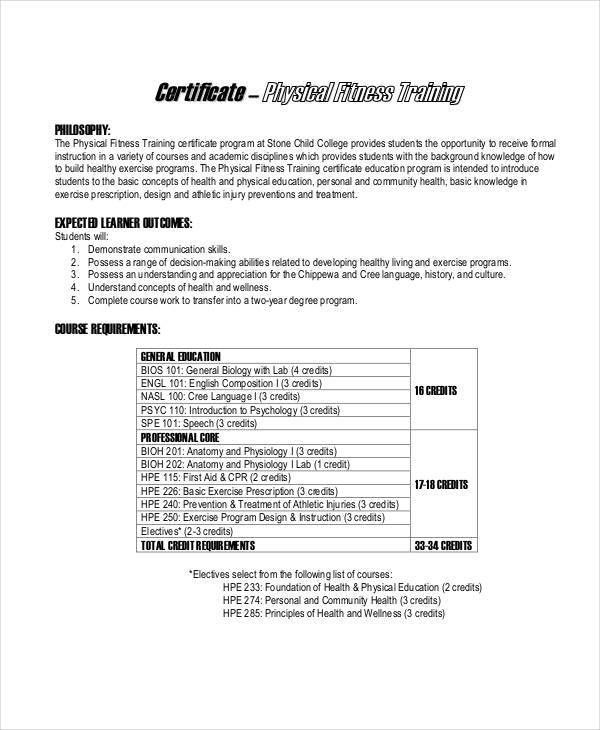 Fitness Training Certificates - 5 Free Word, PDF Documents ...