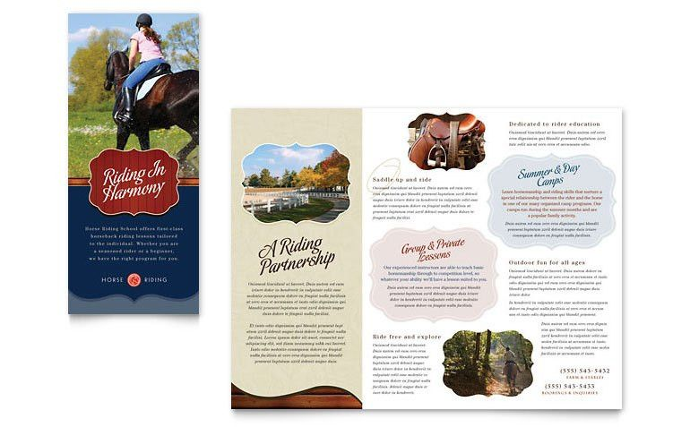 Horse Riding Stables & Camp Tri Fold Brochure Template - Word ...