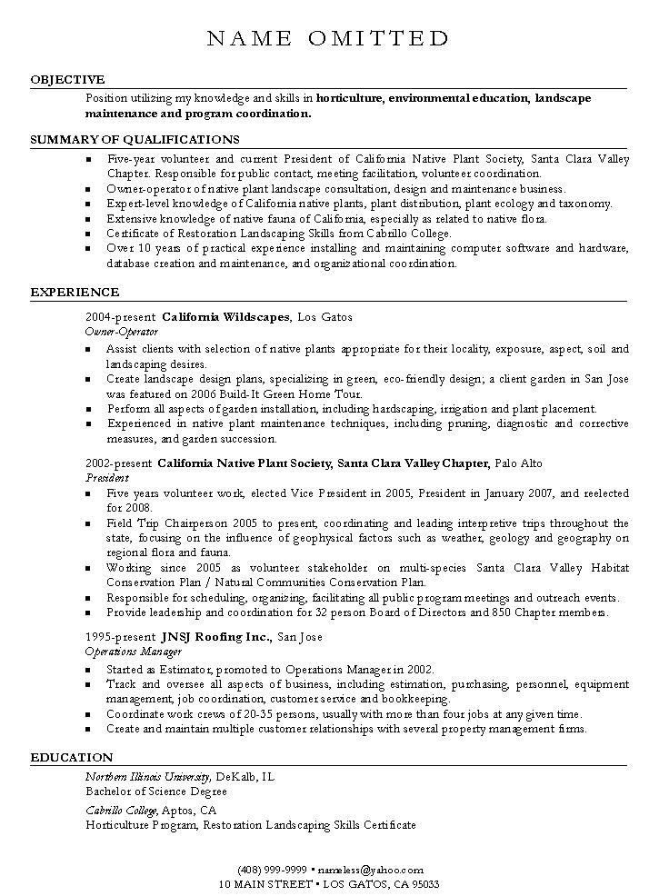 Landscape Design and Landscape Architect Resume Writing Examples