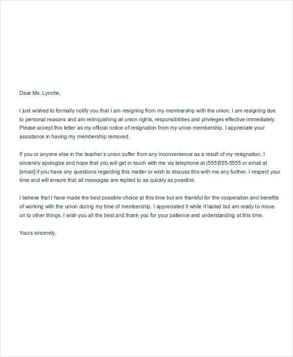 Membership Resignation Letters - 6+ Free Sample, Example, Format ...