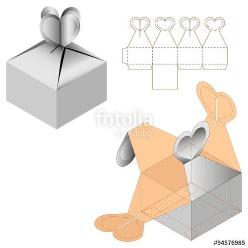 Gift Box Packaging Template White Cardboard Heart Shaped Opening ...