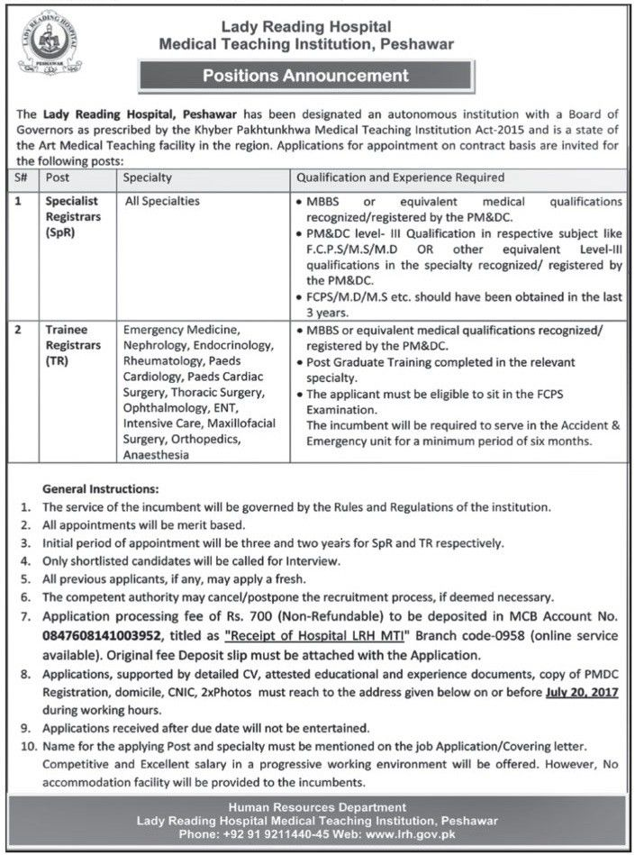 Jobs In Lady Reading Hospital Peshawar 01 July 2017