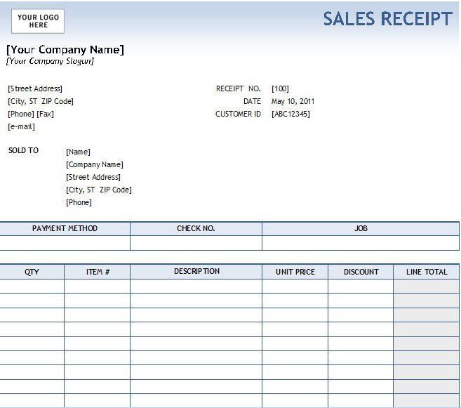 simple sales receipt template
