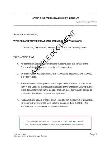 Notice of Termination by Tenant (India) - Legal Templates ...