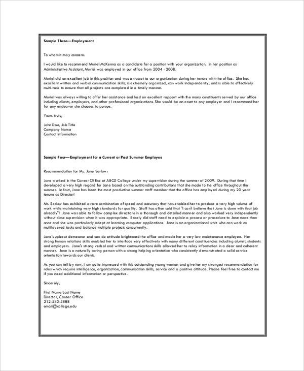 Sample Recommendation Letters - 8+ Examples in PDF, Word