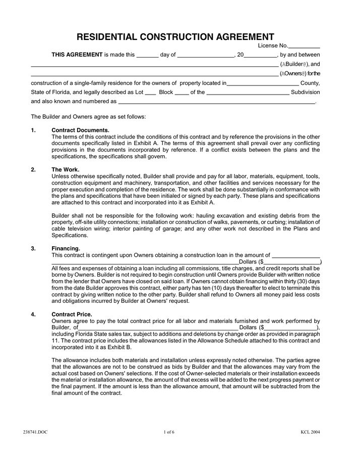 Residential Construction Contract Template | Template Design