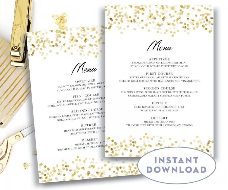 Gold Wedding Menu Template 5x7 Editable Text Microsoft Word Menu ...