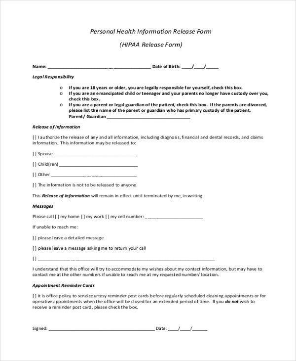 information release form sample