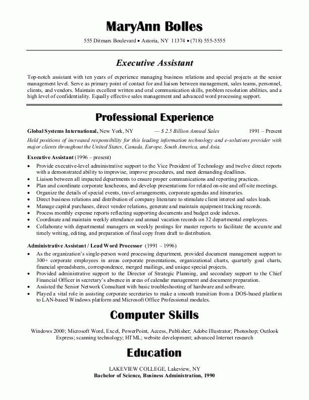 Resume Objective For Administrative Assistant | Template Design