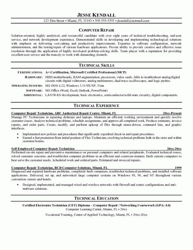 Computer Technician Resume Template – Resume Examples