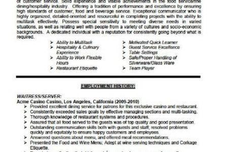 Serving Resume Examples [Template.billybullock.us ]