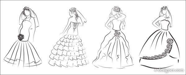 4-Designer | Hand painted wedding dress 03 Vector