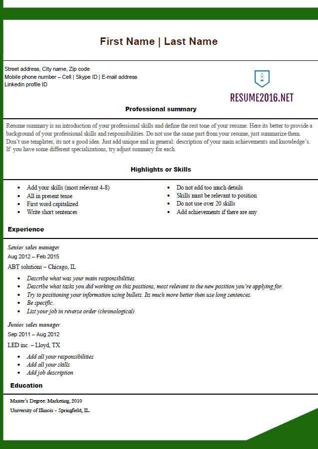 Free resume templates 2016 •