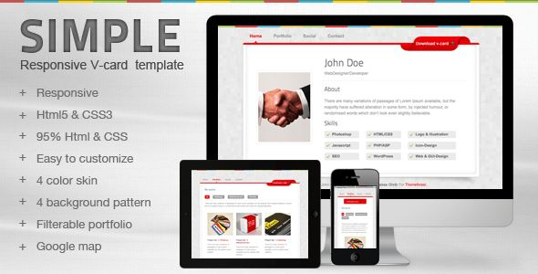 Simple V-card Template by mutationthemes | ThemeForest