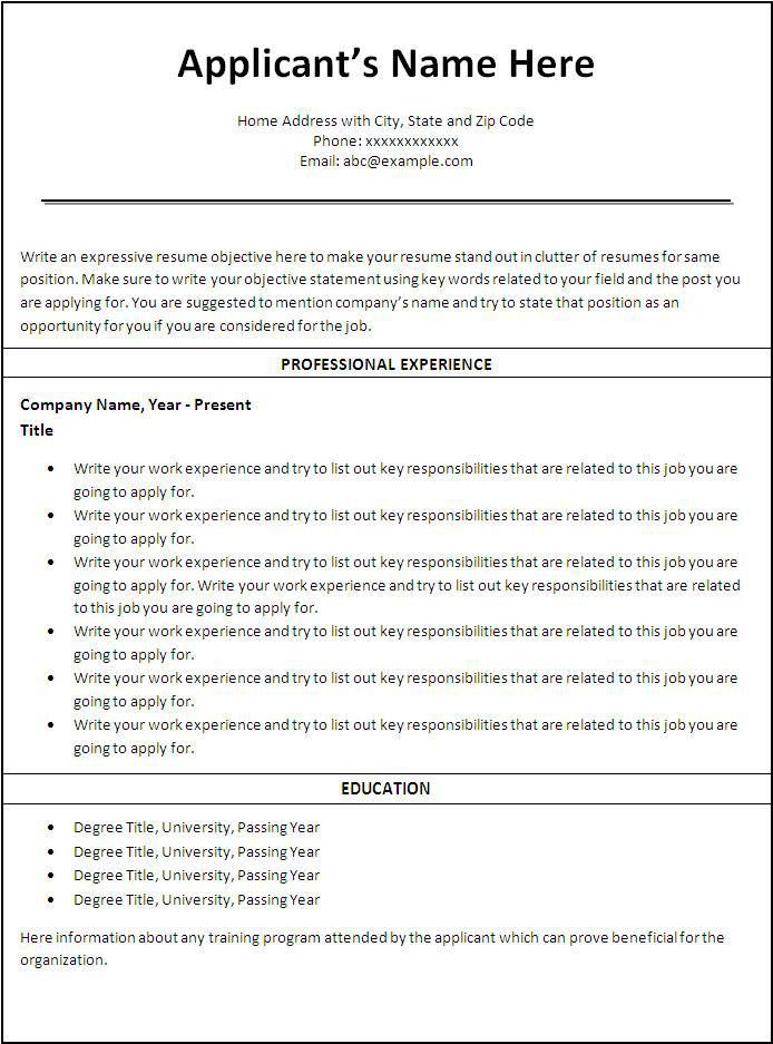 Job Resumes Templates. Free Resume Templates For Nurses - Samples ...
