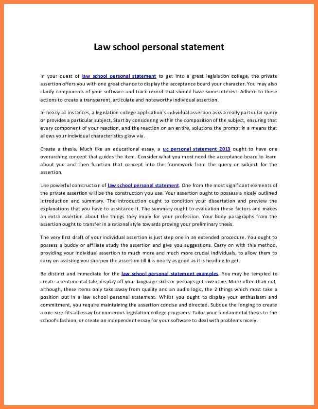 7+ examples of good personal statements for law school | Personal ...