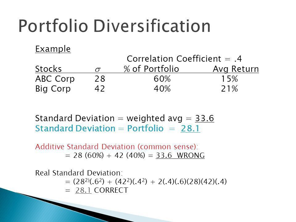 Lecture 24. Example Correlation Coefficient =.4 Stocks  % of ...