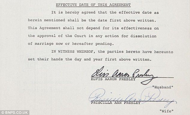 Elvis Presley divorce papers that handed Priscilla $100k, his ...