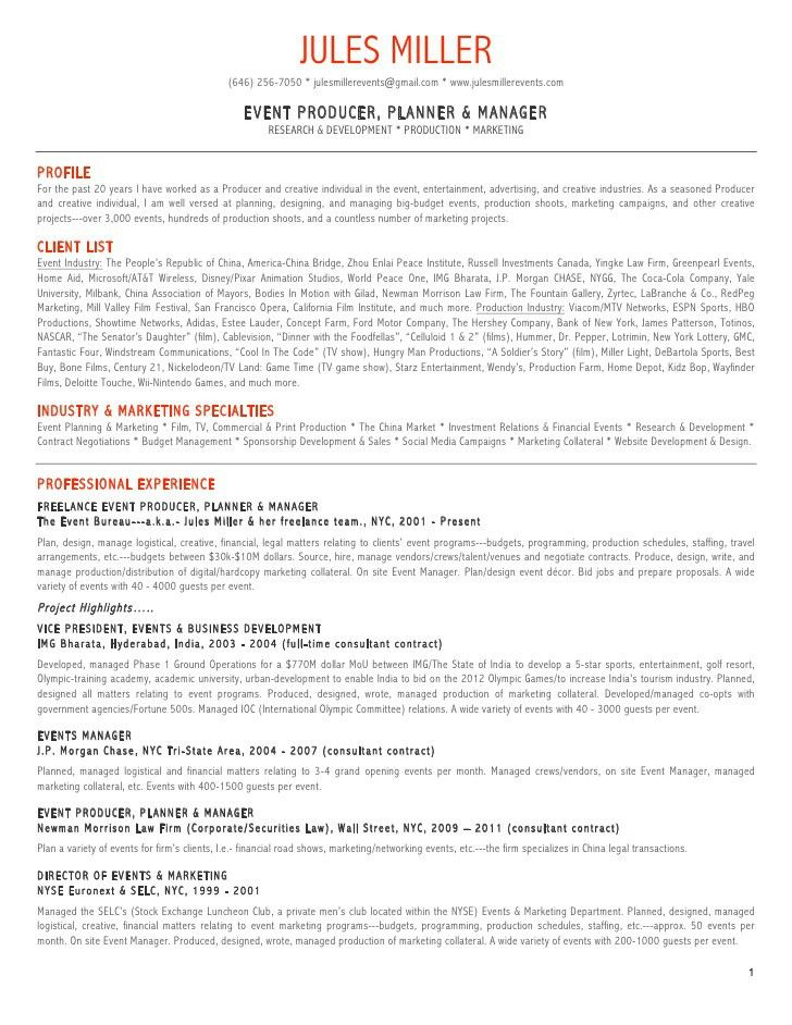 sample special events coordinator resume executive summary event