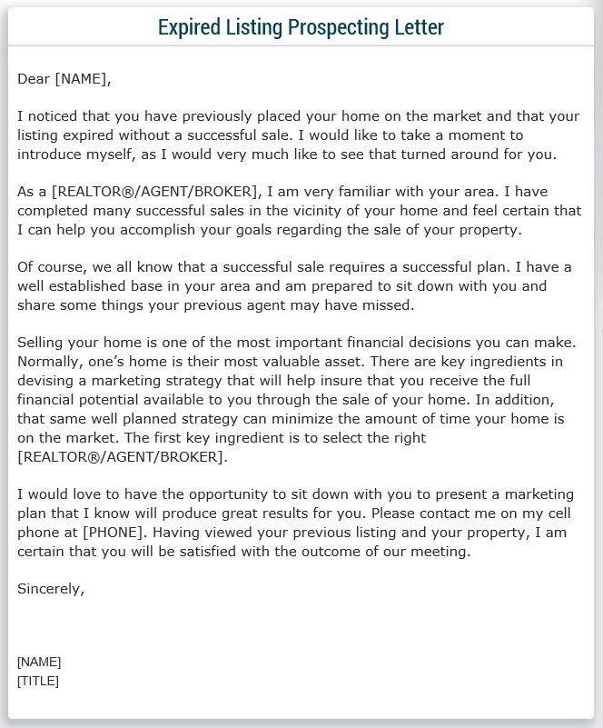 Expired Listing Prospecting Letter Sample! | My Real Estate ...