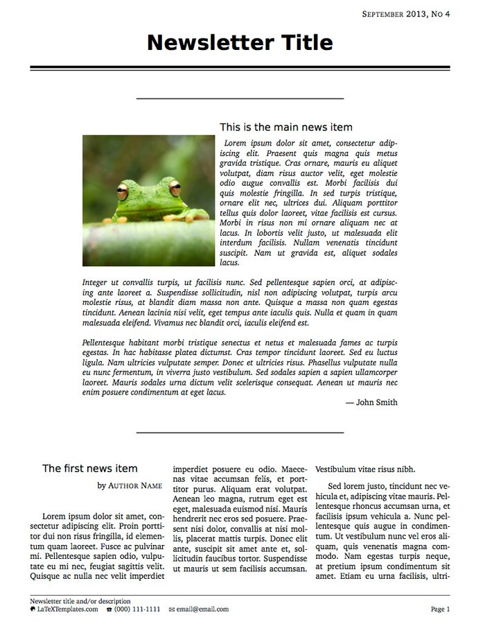 LaTeX Templates » Newsletters