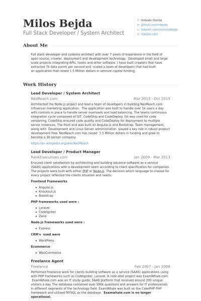 Lead Developer Resume samples - VisualCV resume samples database