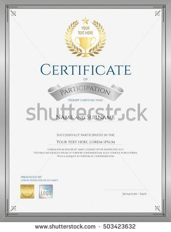 Participation Certificate Template. Awesome Certificate Of ...