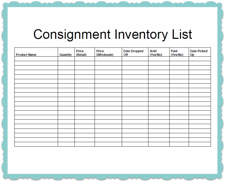 inventory log sheet template