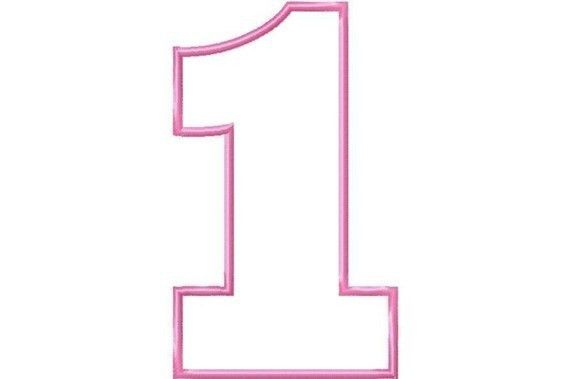 Number 1 Birthday Numbers BLOCK Applique Machine Embroidery