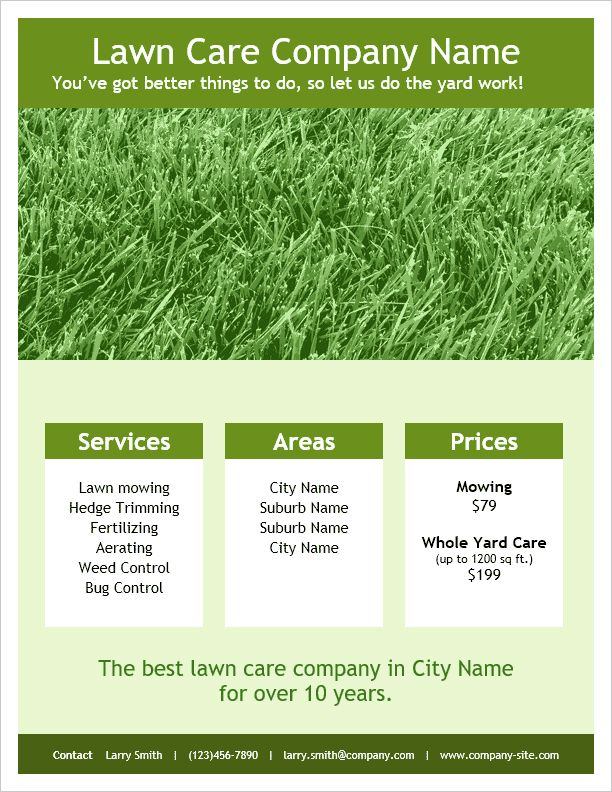 Lawn Care Flyers Templates Free - All About Letter