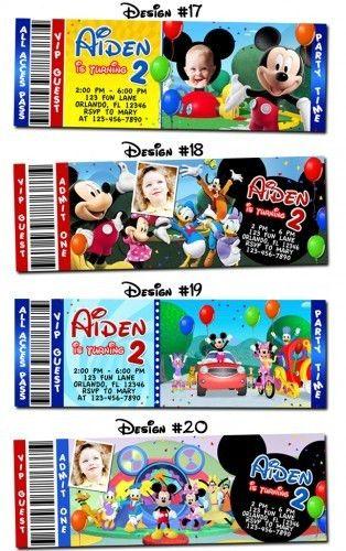 Mickey Mouse Birthday Party Ticket Invitations Custom Minnie - DIY ...