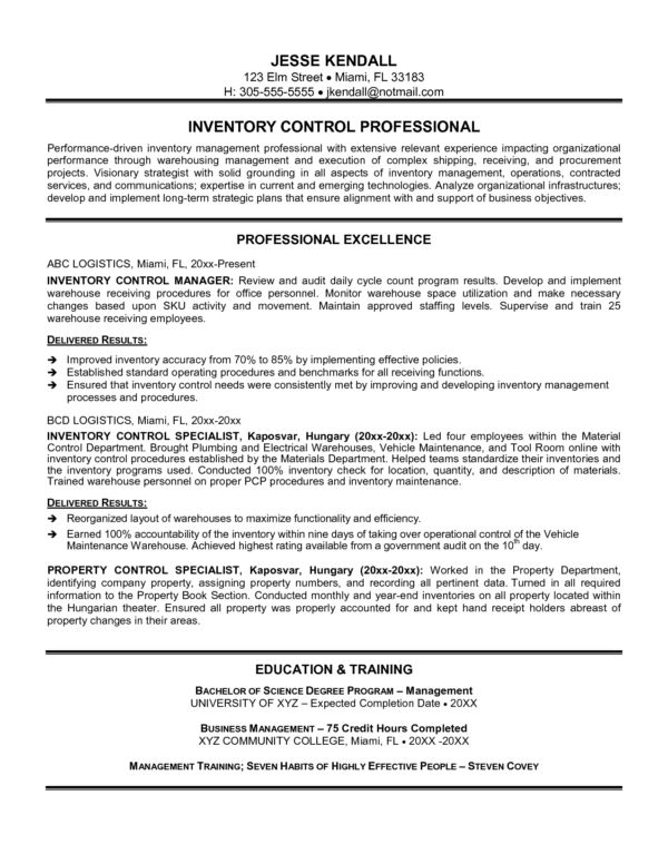Impressive Resume Format and Sample for Applying Inventory ...