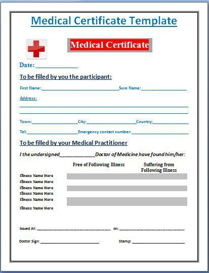 Sample Medical Certificate Template | Formal Word Templates