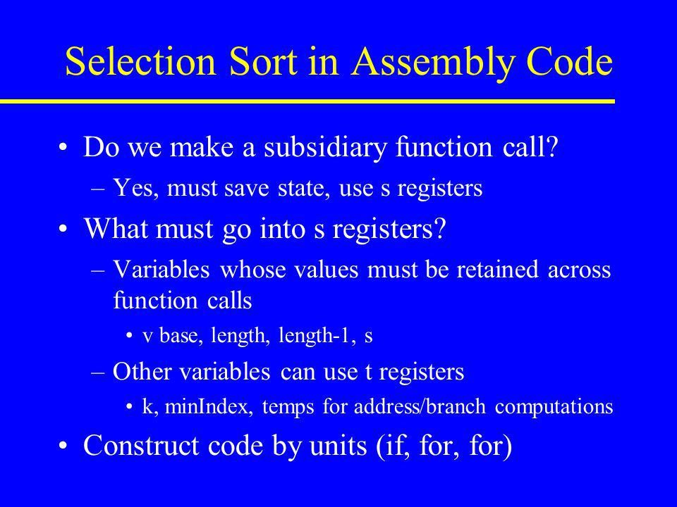 Assembly Code Example Selection Sort. - ppt video online download