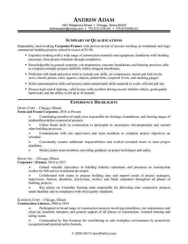 sample resume construction worker unforgettable construction