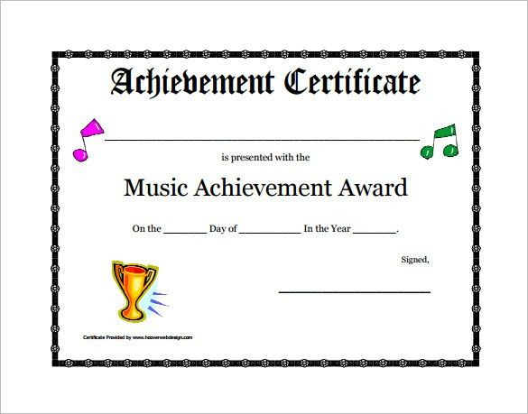 6+ Printable Music Certificate Templates – Free Word, PDF ...
