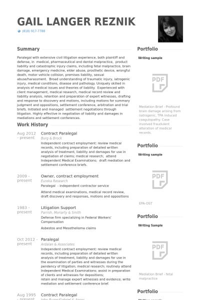 Paralegal Resume samples - VisualCV resume samples database
