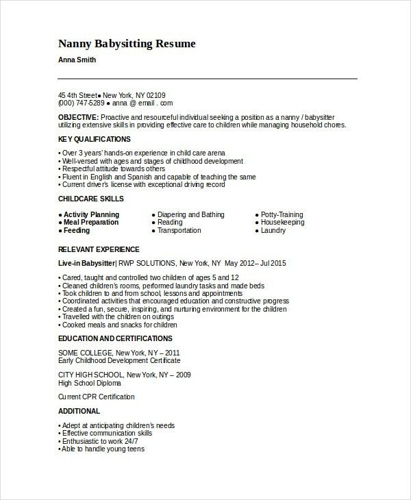 sample nanny resume ideas nanny position resume sample cv writing ...